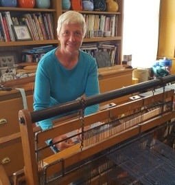 Carol Bridwell with her loom