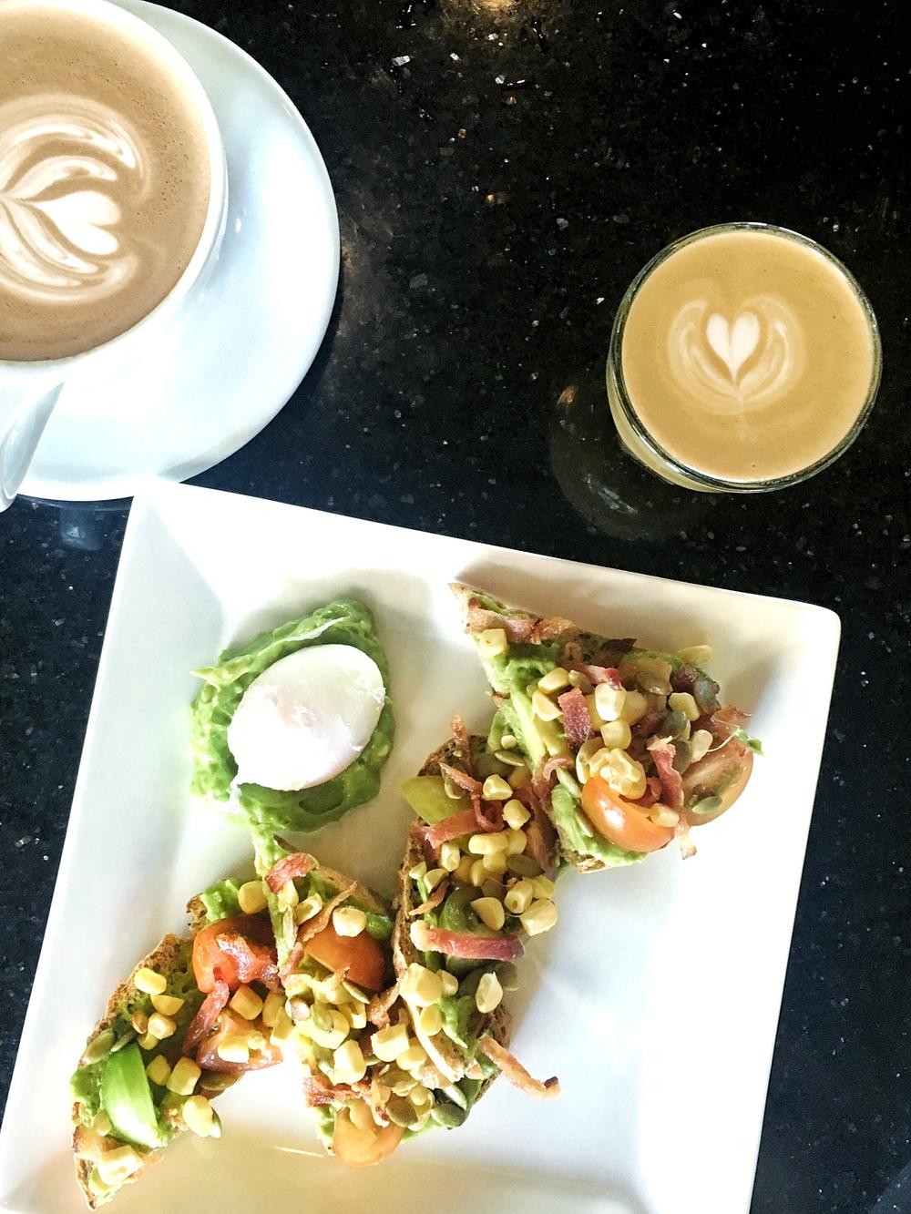 Black Eye Coffee CapHill -Avocado Toast, Latte, Cortado
