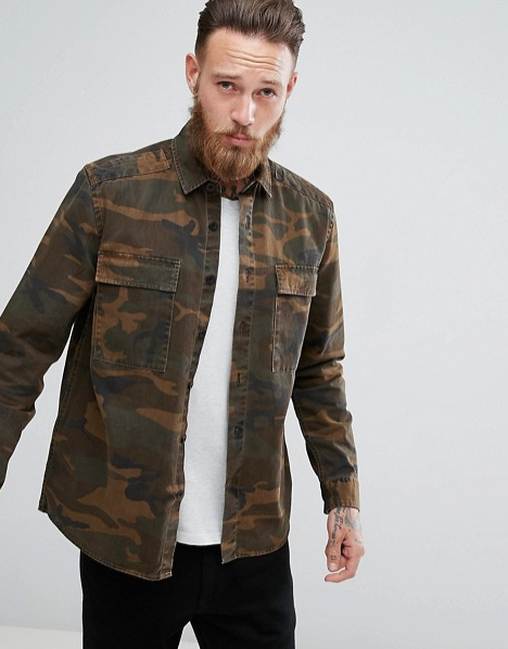 ASOS OVERSHIRT WITH CAMO PRINT  $48