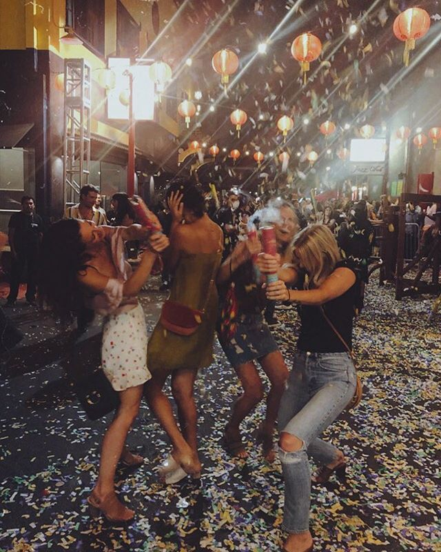 3 types of people when it comes to confetti popping: 1. lives in the moment 2. strictly in it for the good photo-op  3. gets scared