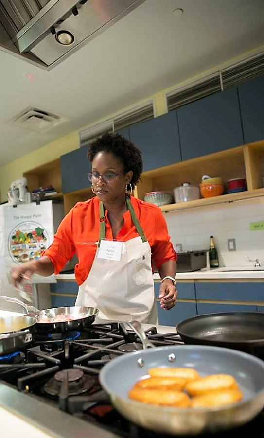Competitive home cook Kadija McLeish in action at a contest in at the Gloria Ferrer Glorious Bites Challenge last year in Austin, TX.