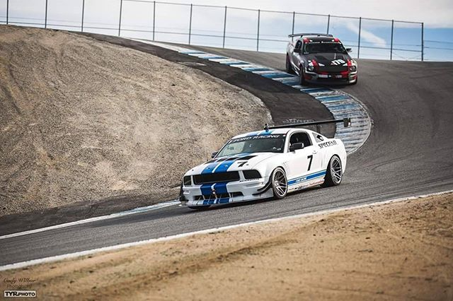 Guess the corner? 😂  PC: @cwilbur77  #ongrid #ongridtrack #mazdaracewaylagunaseca #ford #mustang #tyrphoto #trackspecautosports #racecar #trackday #trackcar #white #blue #friends #fordmustang