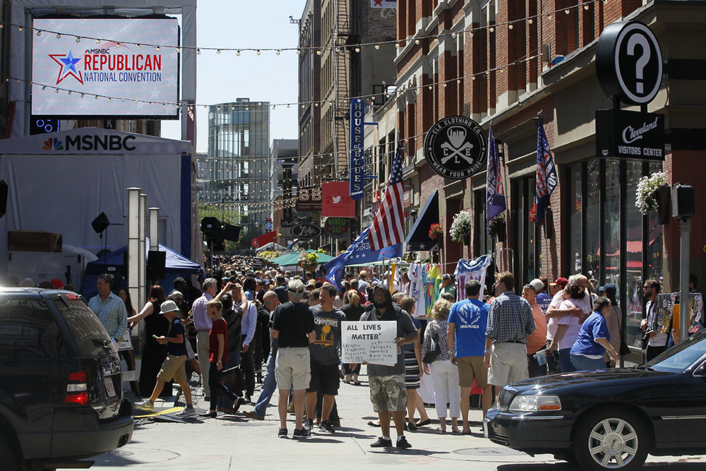 Thousands of people were on hand for the third day of the Republican National Convention Wednesday, July 20, 2016, in downtown Cleveland. Among the thousands of people flocking to the attend the convention at the Quicken Loans Arena hundreds of people also turned out to protest and counter protest.