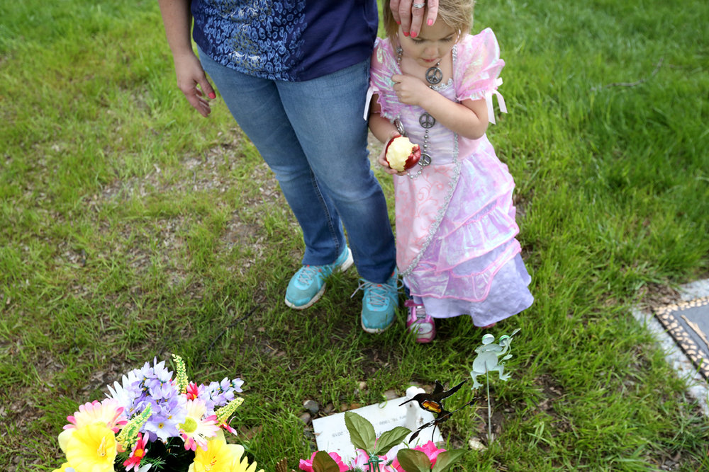 "Josianne Thomas visits the graves of her two eldest children Joscelyn and Johnny, weekly, often with her two surviving children, three-year-old twins Tiffany and Hailey, pictured. ""I want to be with Johnny and Joscelyn in heaven but I know I need to be here with Hailey and Tiffany,"" she said. ""It feels like I should have a calling for something, some reason why I'm still here."""