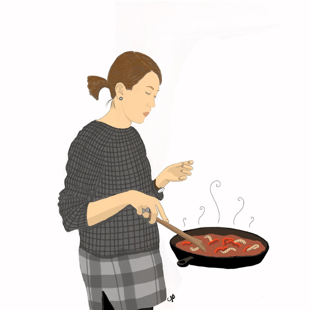I don't always have friends over for dinner but when I do, they illustrate me cooking.