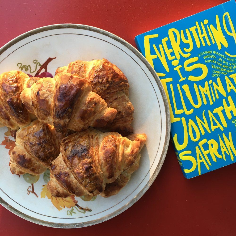everything is illuminated and croissants.JPG