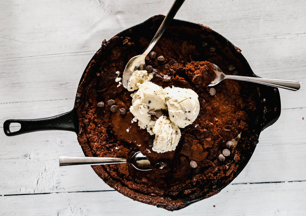 Cast Iron Skillet Brownies - For digging in while you have the campfire movie on Netflix.