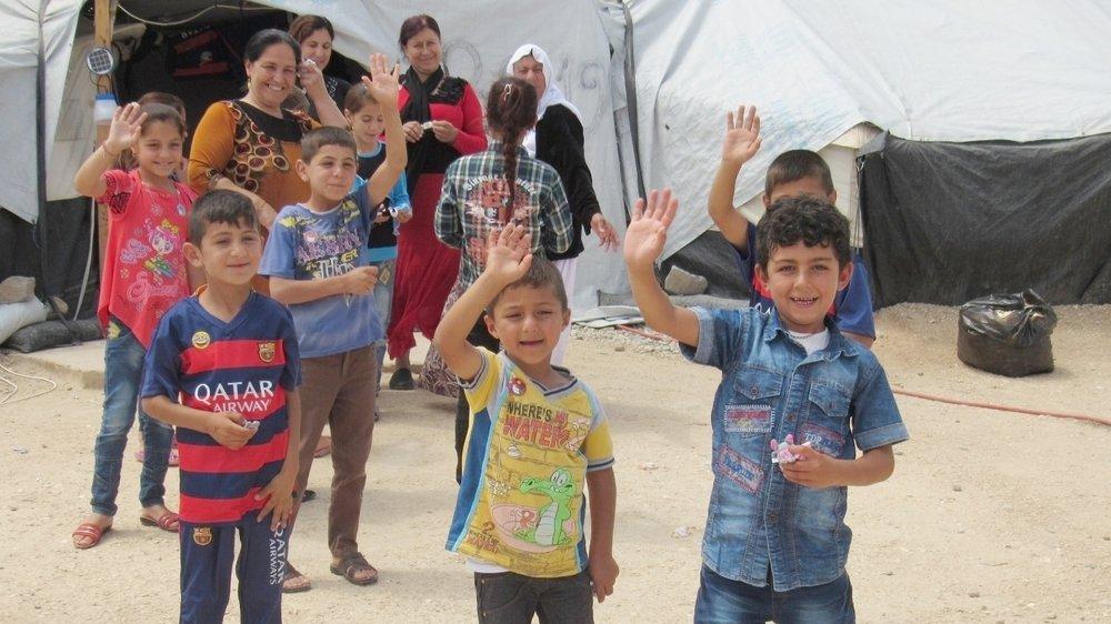 Children in the Yazidi refugee camp in Syria near Malkieh.
