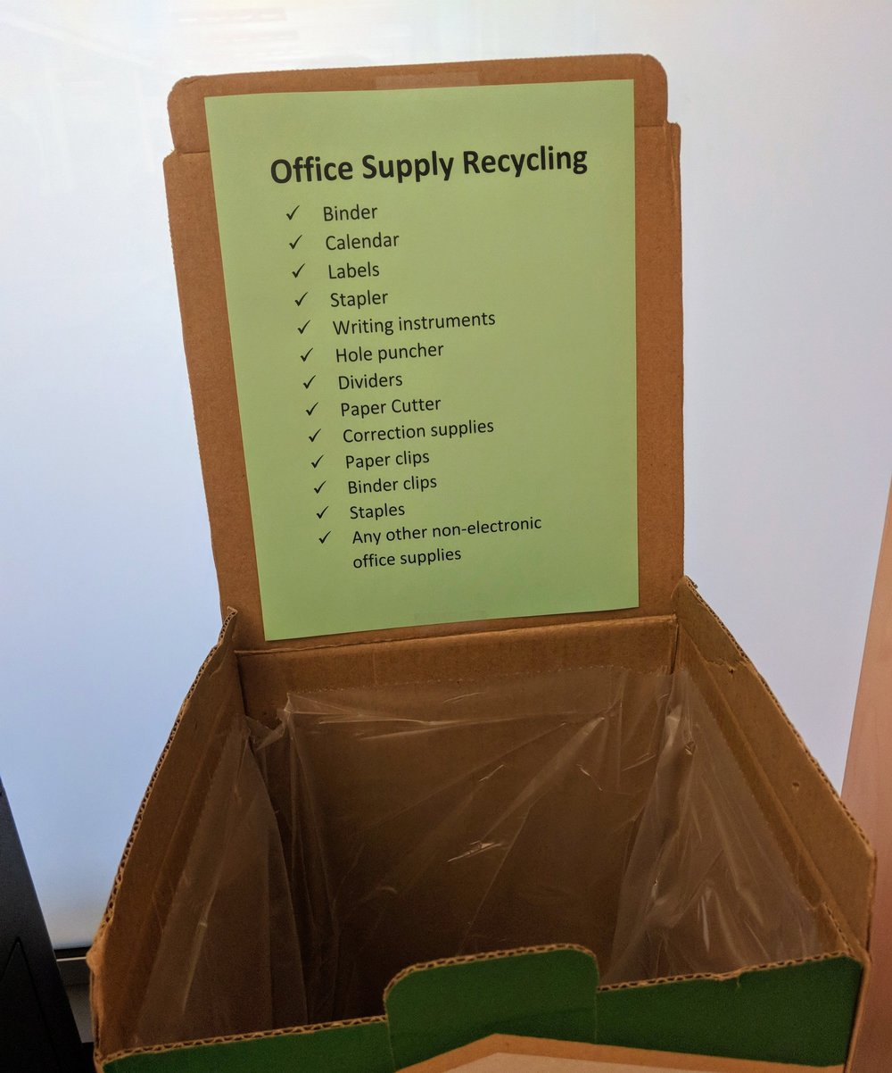 Our office supply disposal box encourages employees to recycle old stationery and keeps the office green and organized.