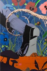 So Slips the Knot , 2016, Acrylic on canvas, 60 x 40 in, courtesy of Fredericks & Freiser, NY