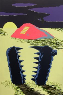 Vacated , 2016, Acrylic on canvas, 60 x 40 in, courtesy of Fredericks & Freiser, NY