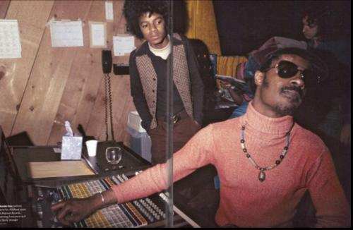 Michael Jackson watching Stevie Wonder create