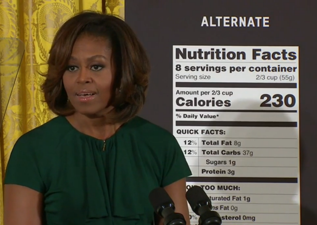 First lady Michelle Obama sharing excitement about the new Nutrition Facts labels, 2014