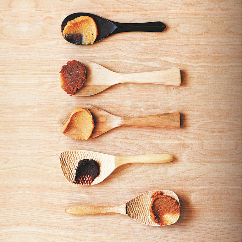 Magic ingredient Spoons of different miso paste