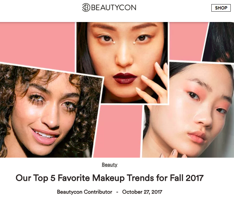 """Okay, we know fall is in full swing and winter is creepin' around the corner- but we wanted to cherry pick our favorite makeup trends that we've seen circulating the web. We've narrowed it down to our top 5, so you can give them a whirl to spice up your look like it's a pumpkin latte.""  READ MORE"