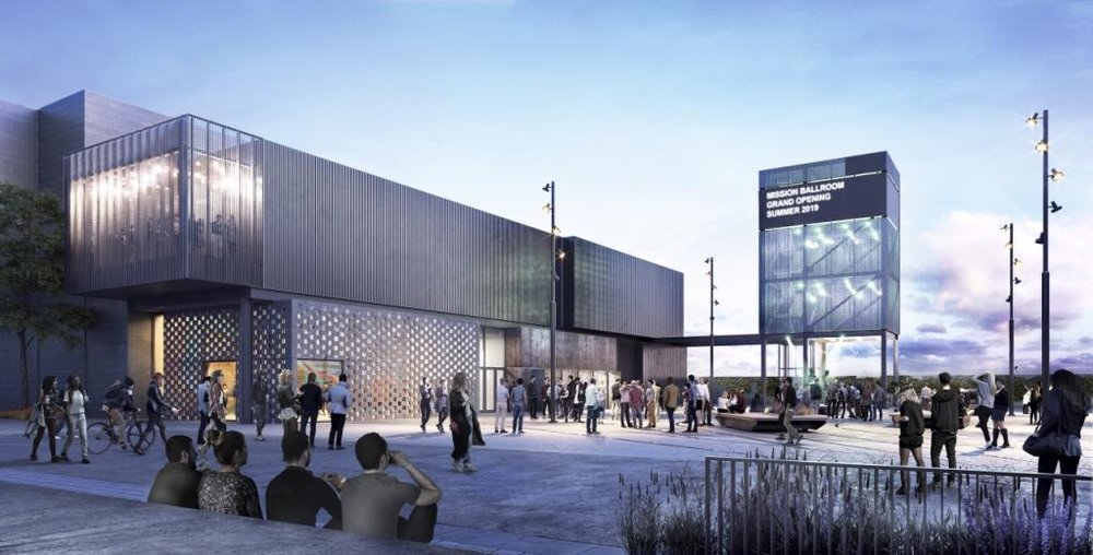 Rendering of an upcoming project: Mission Ballroom in Denver, CO.  Credit:  Works Progress Architecture