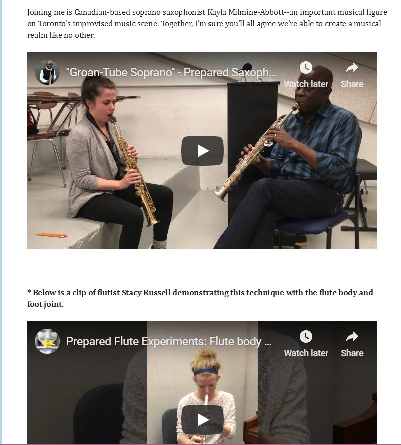 Stacey Russell, prepared flute featured on Sam Newsome's website