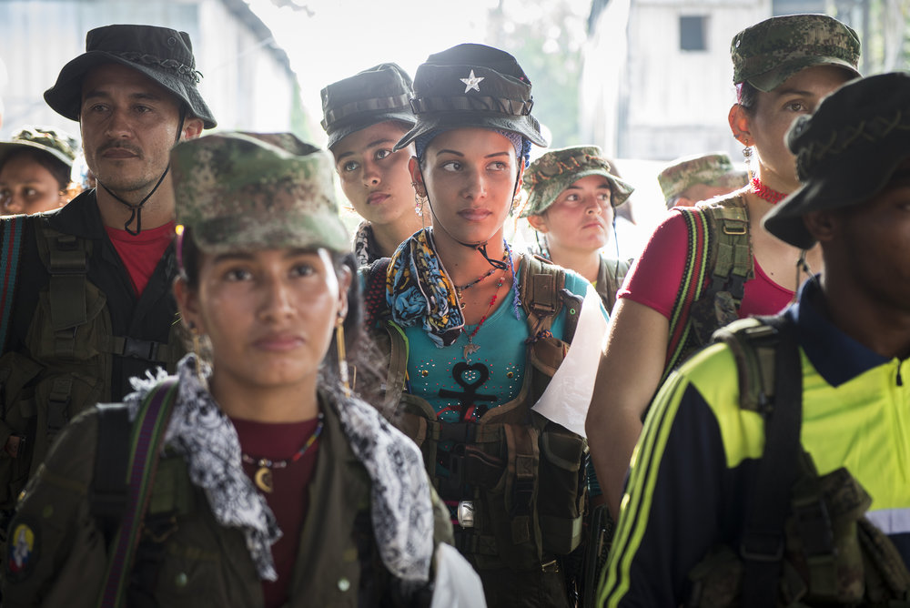 January 2016. Putumayo. Guerrilleros at the moment of the public meeting between peace FARC delegation and civil population. An estimated 30 to 40 percent of FARC members are female.