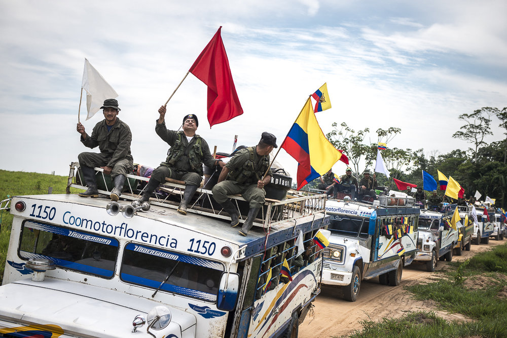 February 18, 2017. Caqueta. The 14th and 15th front of the FARC guerrila begin a historical last trip to the transitional zone. They are the last troops leaving their camp.