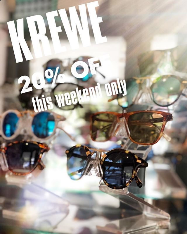 SALE 🙌 20 % OFF on KREWE du optic SUNGLASSES - this weekend only!  Come see us for the Sidewalk Sale downtown Ocean Springs 🌿 #oceansprings #downtownos
