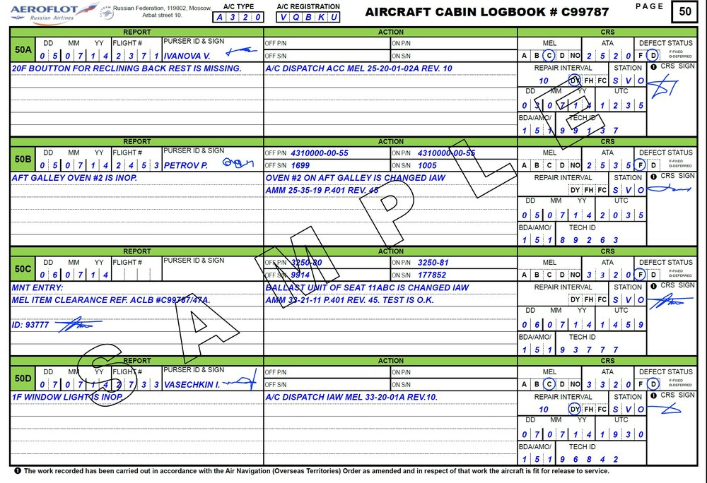 Sample Cabin Log Book (from the internet)