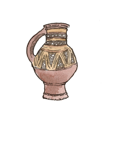 English   Jug, 1180-1250  Slip-decorated earthenware, 2000.27