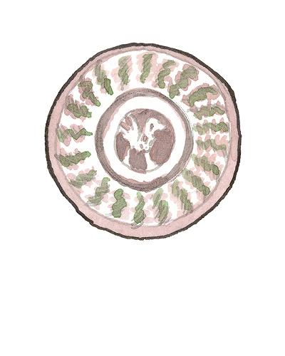 German   Dish, ca. 1600  Slip decorated earthenware, 2015.4