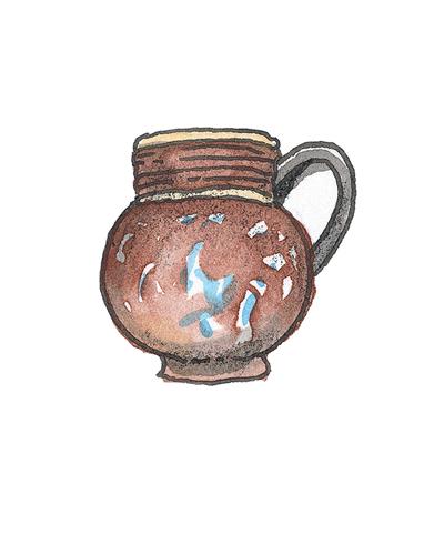 London, England   Mug, 1690-1700  Stoneware, enamel, gilding, 1994.11