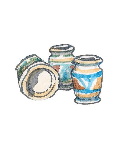 Left pot - Dutch, right two pots - London, England   Drug Jars, ca. 1600-30  Maiolica, 2016.1.2, 2014.15a,b