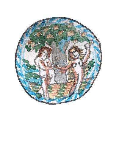 London, England   Temptation Charger, ca. 1635-1650  Tin-glazed earthenware, 2015.38