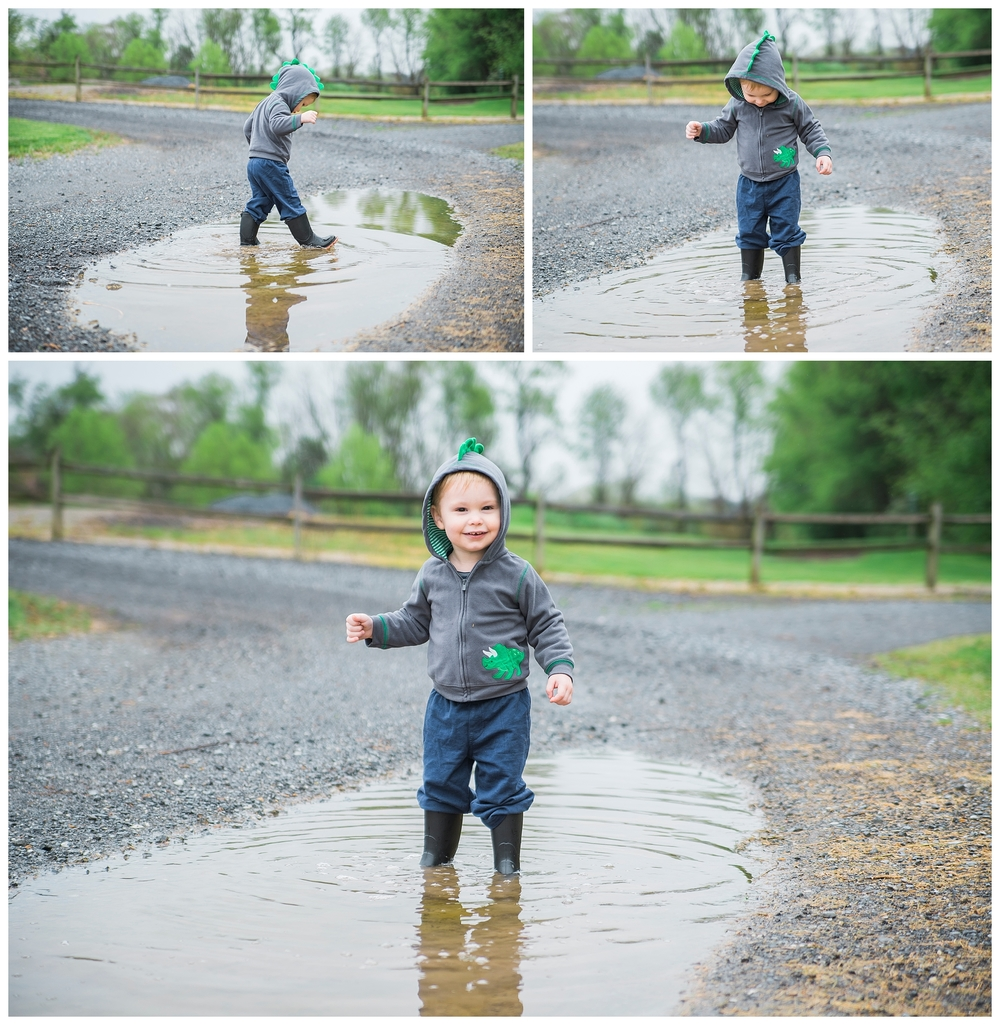 When he first walked in, he looked surprised and happy all at once! He had never played in puddles before!