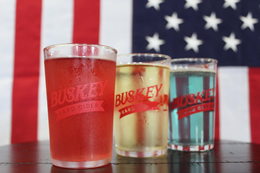 Flights at Buskey's Red, White, and Blue CIDERbration!