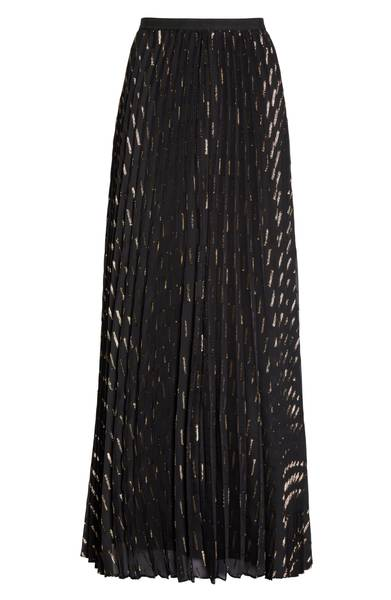 Eliza J Metallic Detail Pleated Chiffon Maxi Skirt