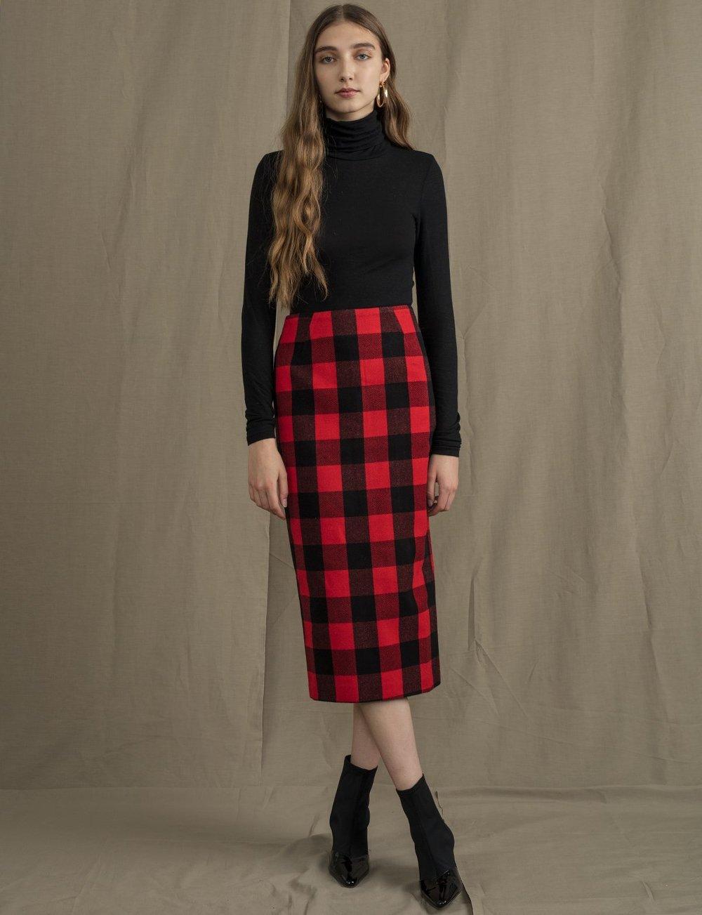 Red Plaid Pencil Skirt, $92
