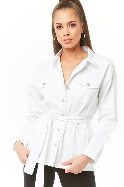 Denim Button-Front Jacket, $34.90