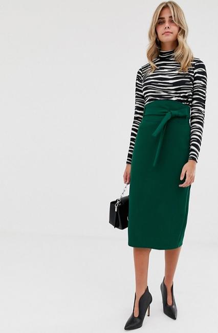High waist midi skirt with tie, $48