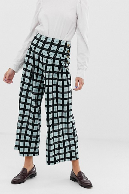 Wide leg culotte in check with tortoiseshell button placket, $35