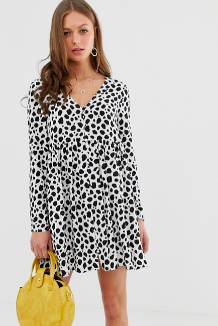 Smock mini dress with button through in splodge print, $48