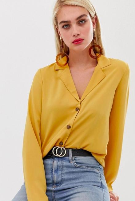 Vero Moda button through blouse in yellow, $46