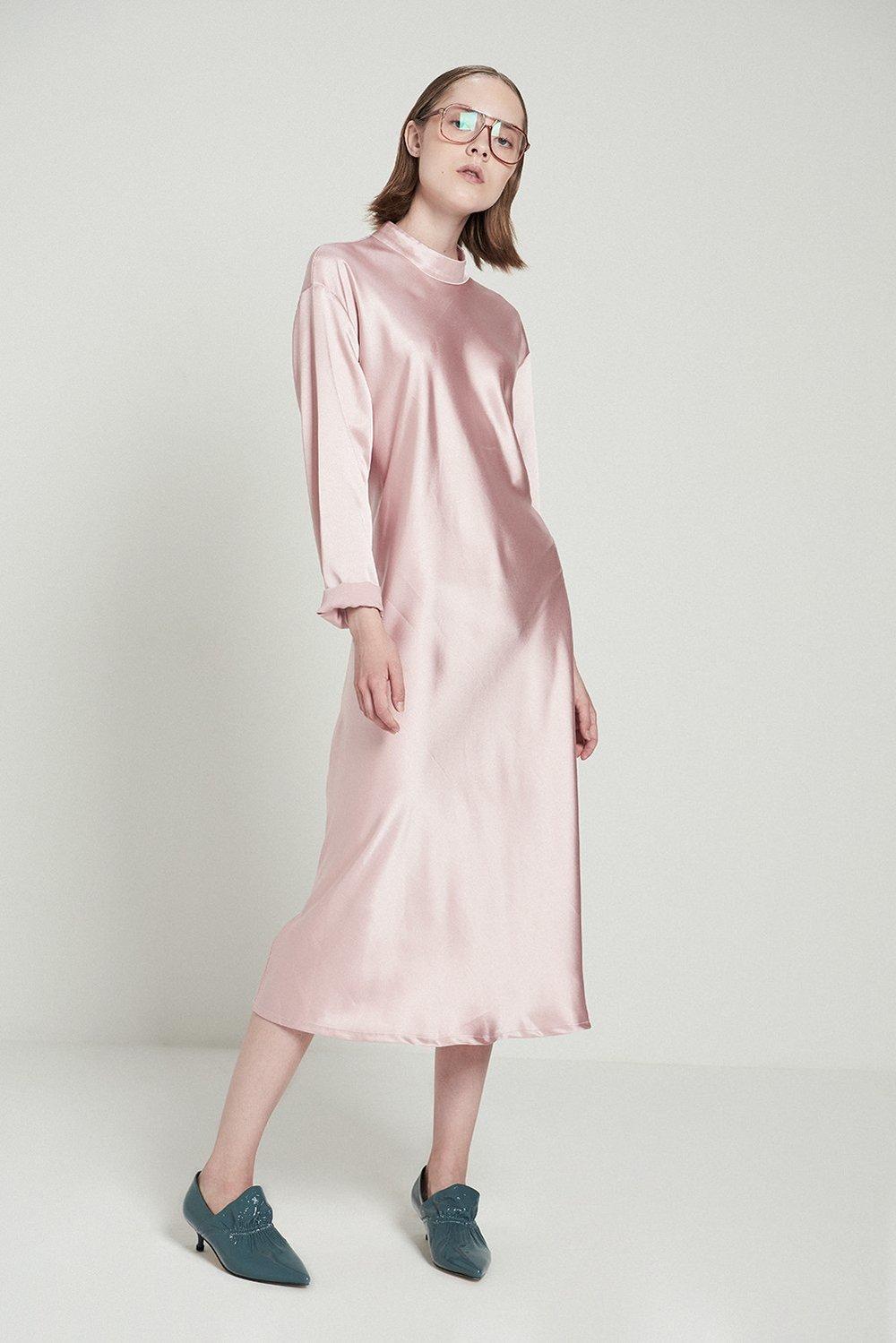 Shiny Turtleneck A-line Dress-Pink, $95