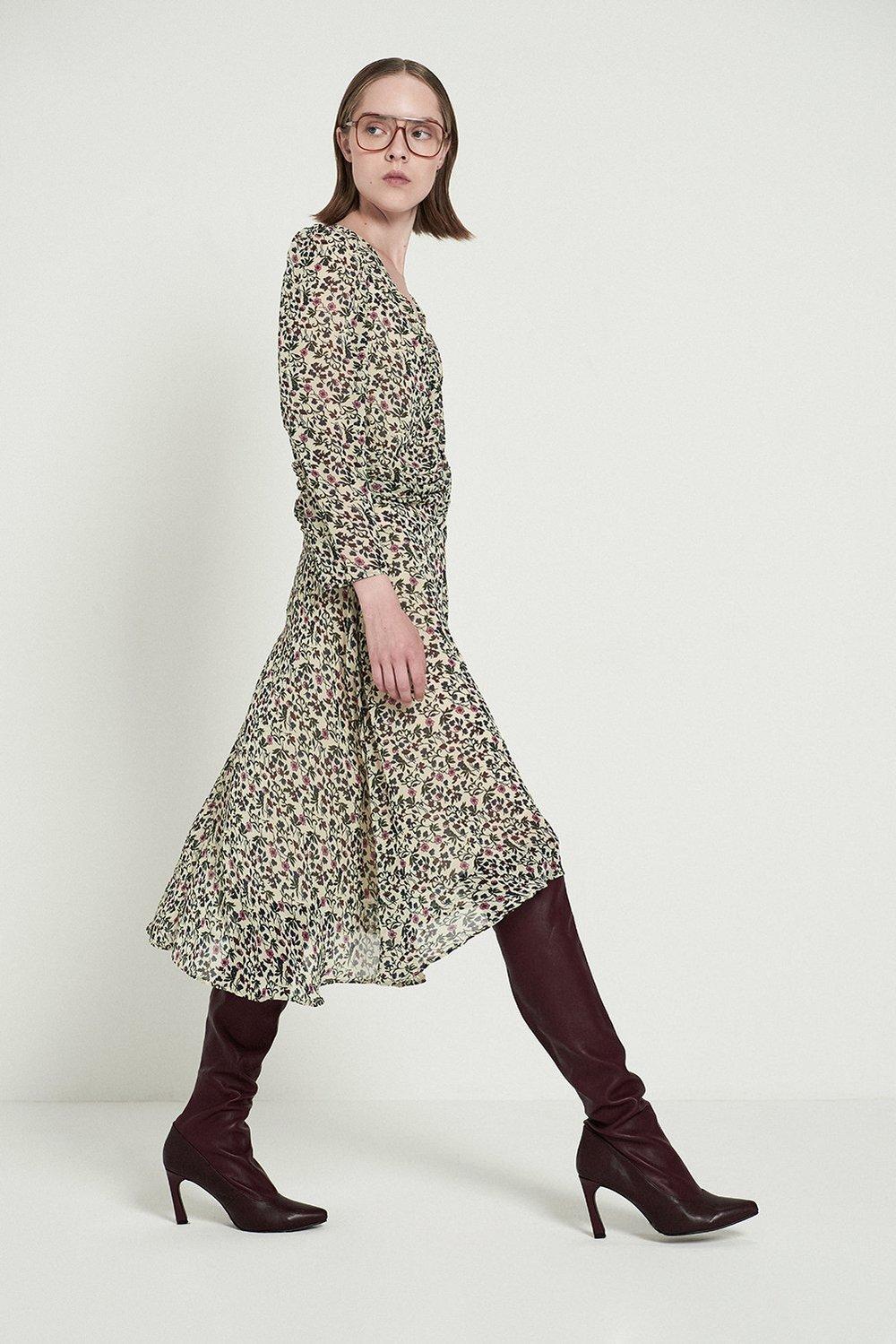 Shirred Waist V-neck Floral Dress, $89.79