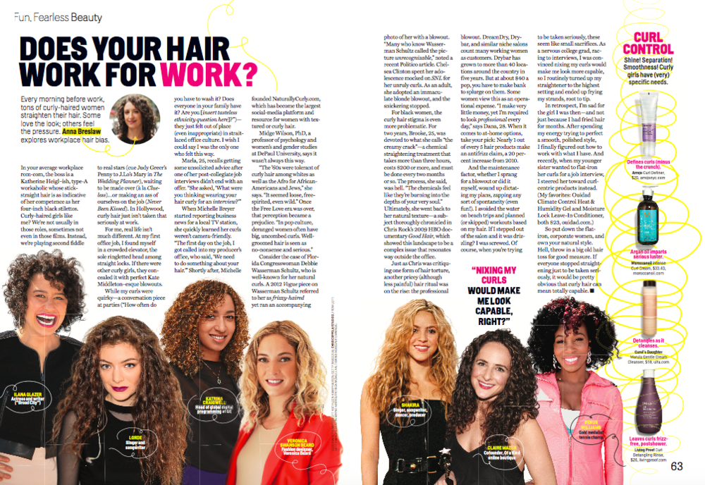 Curly hair in the workplace (Cosmo)