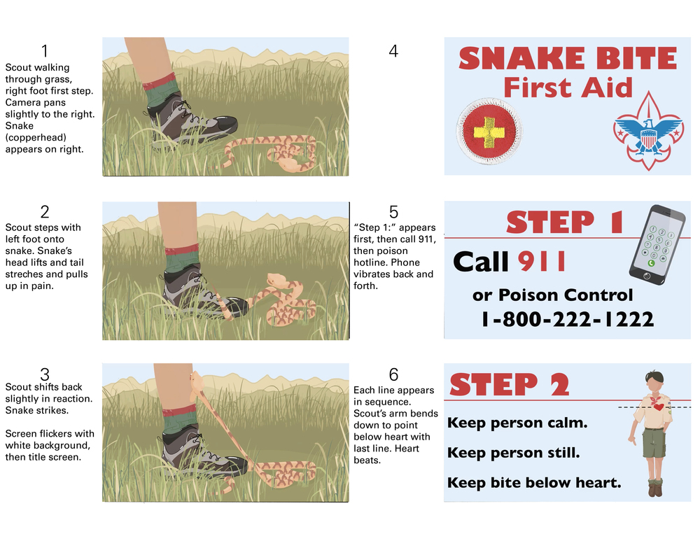 Final Animation Stills for  Boy Scout First Aid: Snake Bite    Adobe Flash/Animate