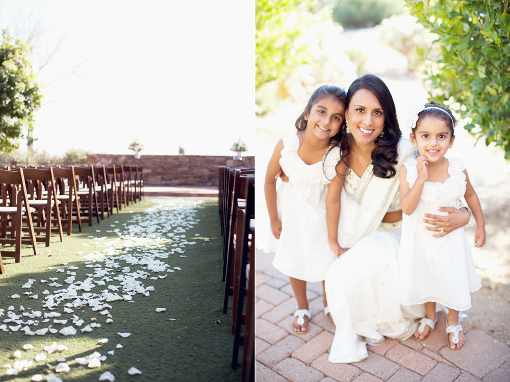 Sassi Wedding Ceremony and Bride with flower girls