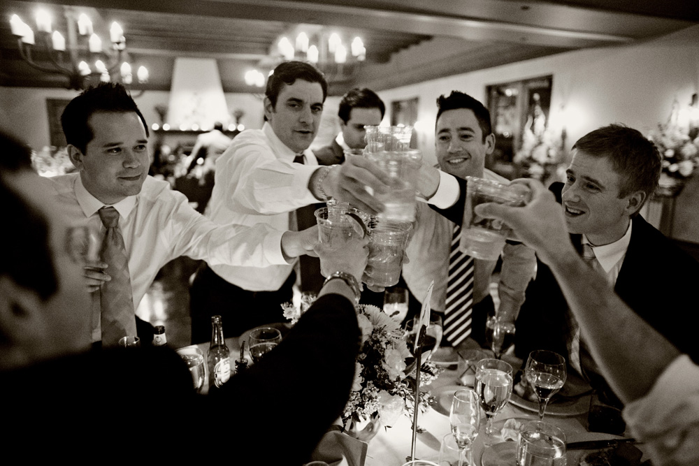 Wedding guests toast at Sassi wedding