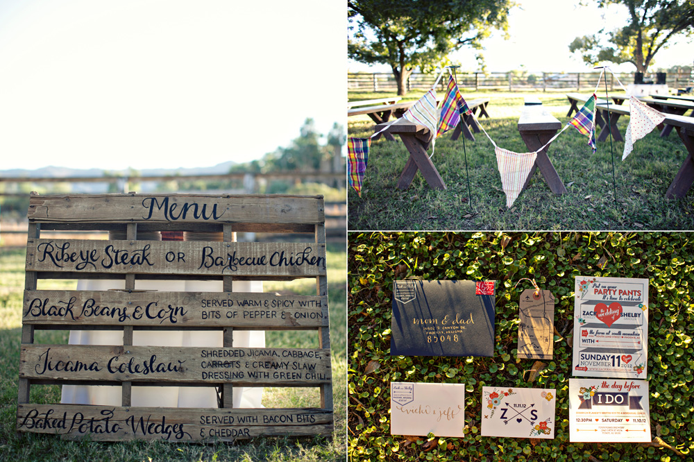Menu pallet, banners, and invitations at The Farm at South Mountain