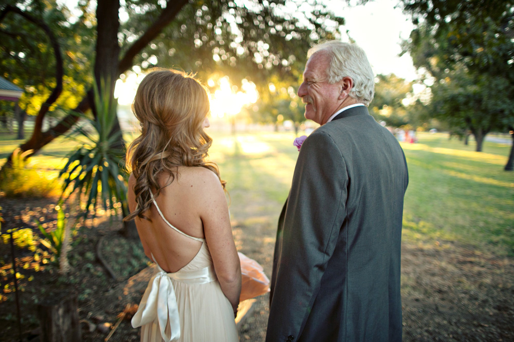 Shelby and dad share a moment before they walk down the aisle at The Farm at South Mountain