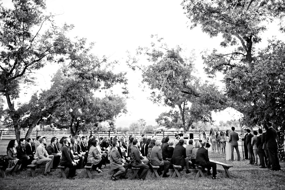 Wedding ceremony at The Farm at South Mountain