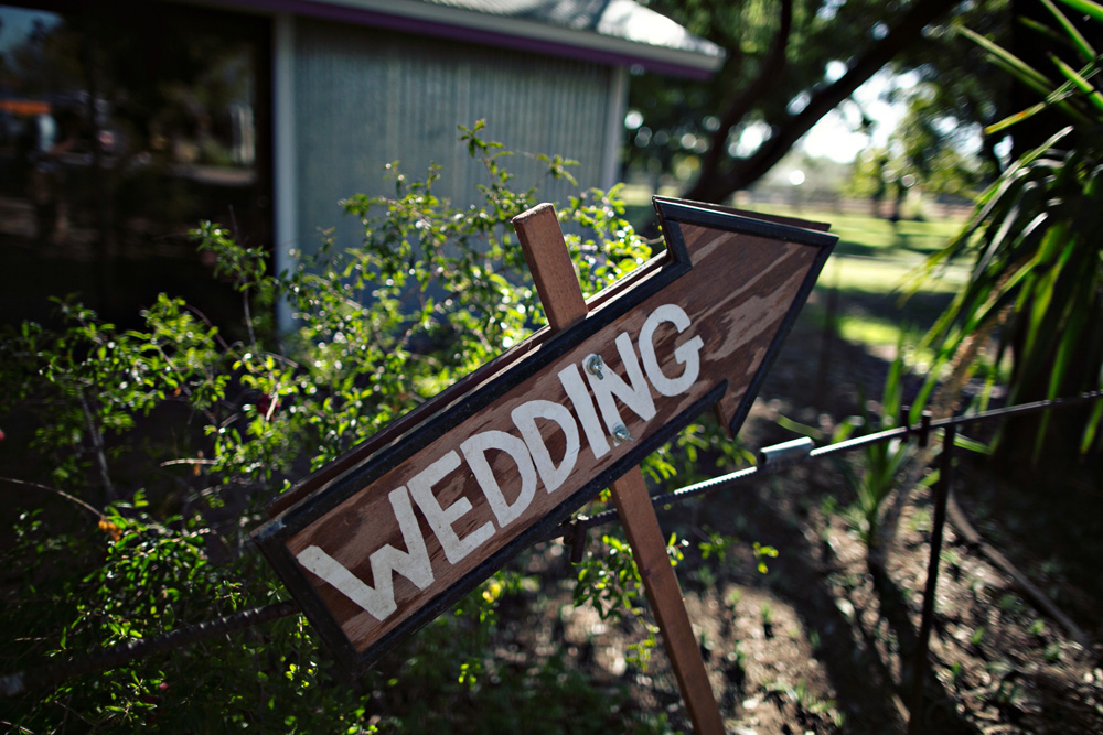 Wedding sign at The Farm at South Mountain
