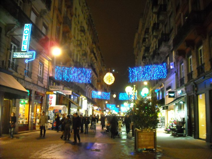 The streets are lined with pretty lights for the Fete des Lumieres